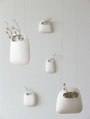 minimal & modern hanging planter / container: Idea, Hanging Vases, Ceramics, Hanging Ceramic, Hanging Planters, Wendy Jung, Small Hanging