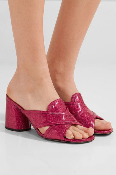 Heel measures approximately 75mm/ 3 inches Fuchsia glittered patent-leather Slip on