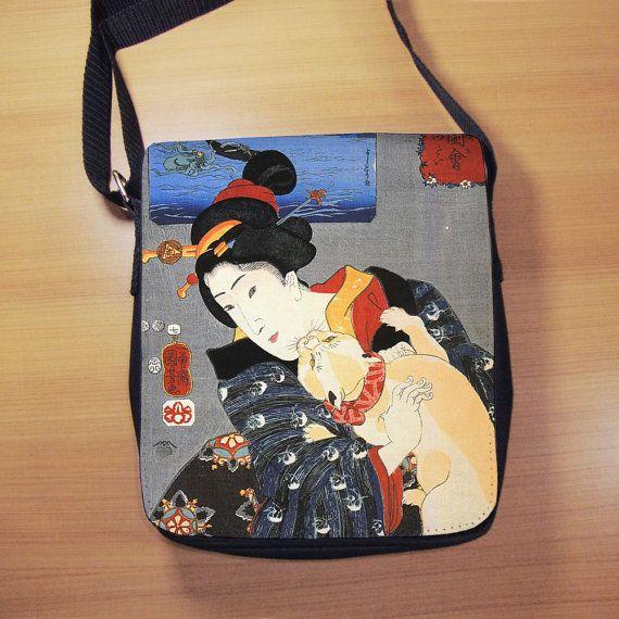 Japanese Cat Print Shoulder Bag  Vintage Japanese by RegalosOnline