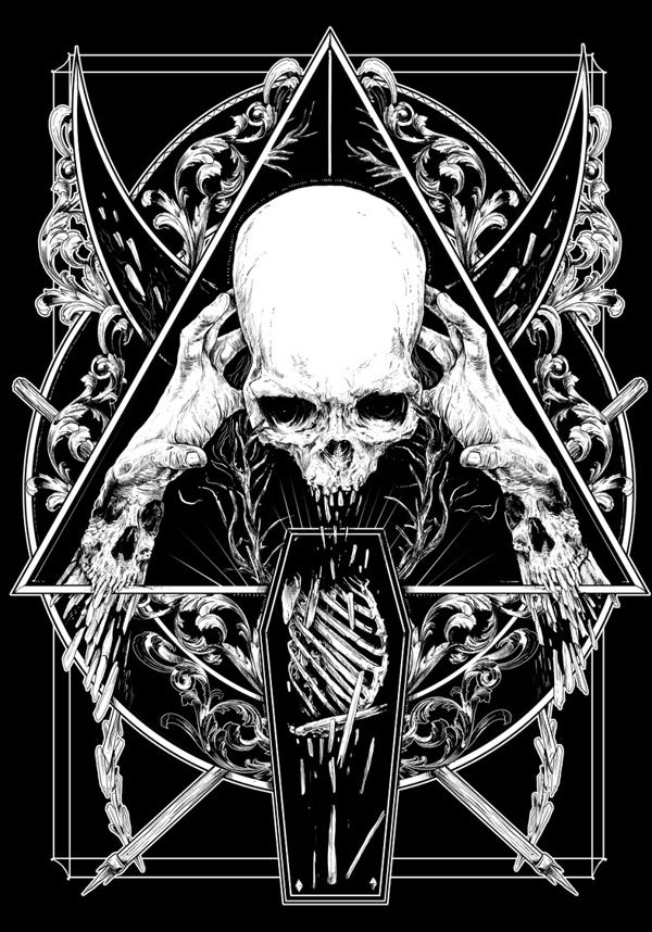 BLACK AND WHITE by Rafal Wechterowicz, via Behance #dark #bw #drawing #skull #illustration