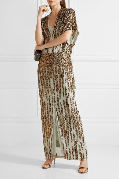 By Malene Birger - Saribala Sequined Chiffon Gown - Gold