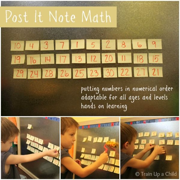 Post it note math - Making a game out of ordering numbers.  For an added challenge, set a timer!  Many other ideas for hands on learning included in this post.