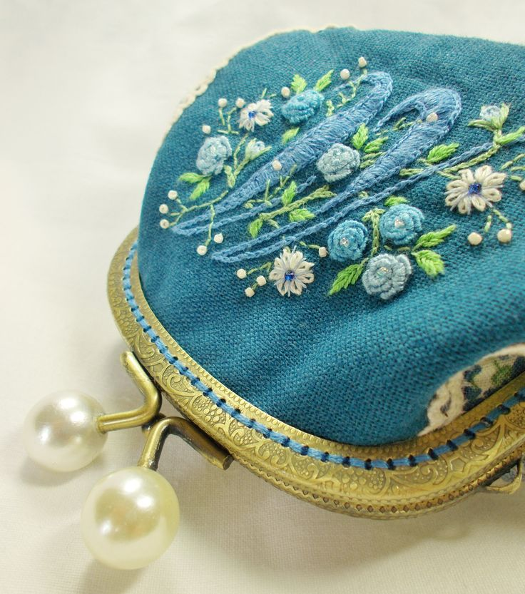 M is for Melissa/ Florrie coin purse (embroidered both sides)  Special commission (SOLD)