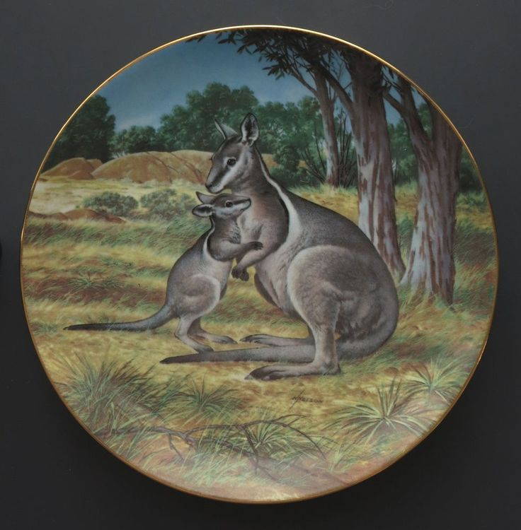 VTG Australian Bridled Wallaby collector plate W.S. George Wildlife Society baby