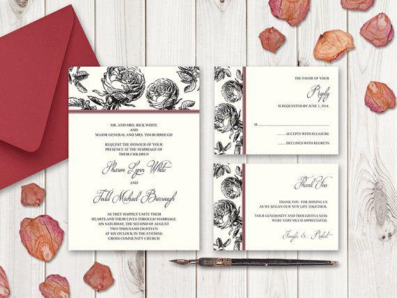 Wedding Invitation Set Classic Roses Black. by ShishkoTemplates