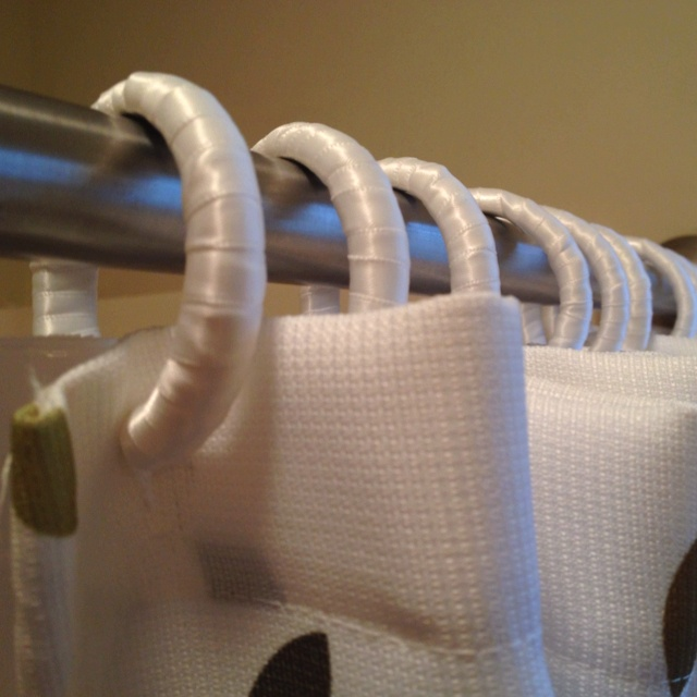 DIY ribbon covered shower curtain rings = silent sliding on the metal ...
