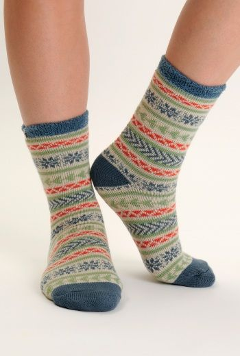 Cabin Socks | Just the ticket snuggled up on the sofa or out on a walk. Fluffy on the inside, knitted on the outside, with a Fair Isle style pattern.