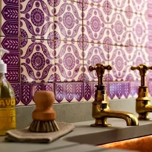 I love tile work.  This color, in Pantone's Radiant Orchid, and pattern are absolutely beautiful!