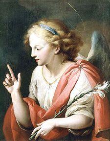 Gabriel-Dio è potenteSpiritus Sanctus superveniet in te-Fiaccola e specchio di diaspro (di solito è il giglio bianco)