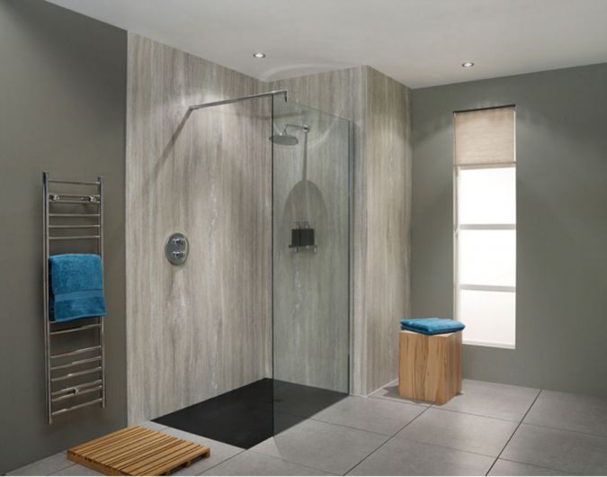 Silver Travertine Nuance BB Waterproof Shower Board