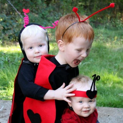 No-Sew Ladybug Costume    This costume is all based on that grade school trick to making a symmetrical heart. If you can do that, you can make this costume!