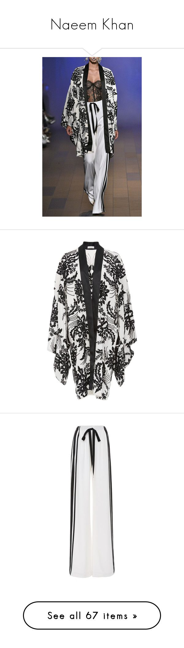 """""""Naeem Khan"""" by queerlillady ❤ liked on Polyvore featuring activewear, activewear pants, outerwear, jackets, black, kimono jacket, silk kimono, silk kimono jacket, naeem khan and open front jacket"""