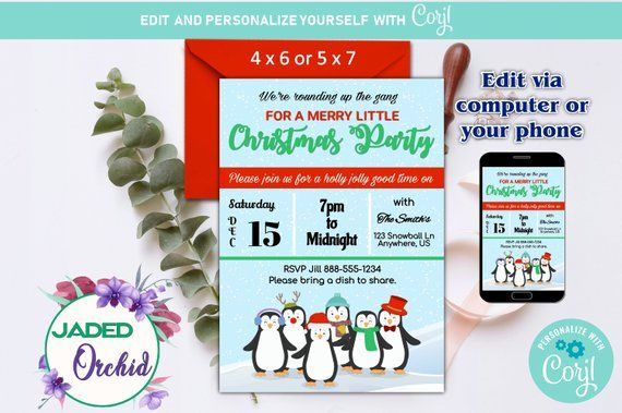 The Christmas Gang Holiday Party Invitation Template You Edit 4 x 6