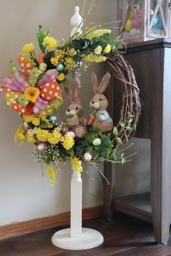 Bunny wreath, Spring wreath, Easter wreath, Nature wreath, Grapevine wreath, Summer wreath, Entryway wreath, Front door wreath, Home decor