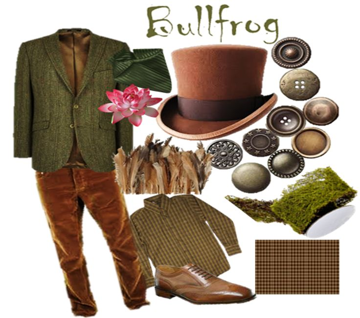 Bullfrog's Costume Patch Work Leather Elbow patches Moss, button, feathers, etc. on hat