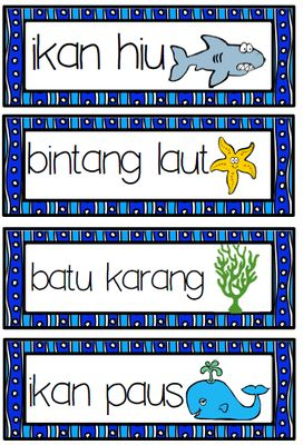 BAHASA INDONESIA sea ocean WORD WALL vocab LAUT from Miss Simplicity's Store on TeachersNotebook.com -  (13 pages)  - Indonesian SEA WORDS word wall  32 sea words (in bahasa) with cute pics + 3 word searches (Jr, Middle and Upper) + using a bilingual dictionary sheet (sea words)