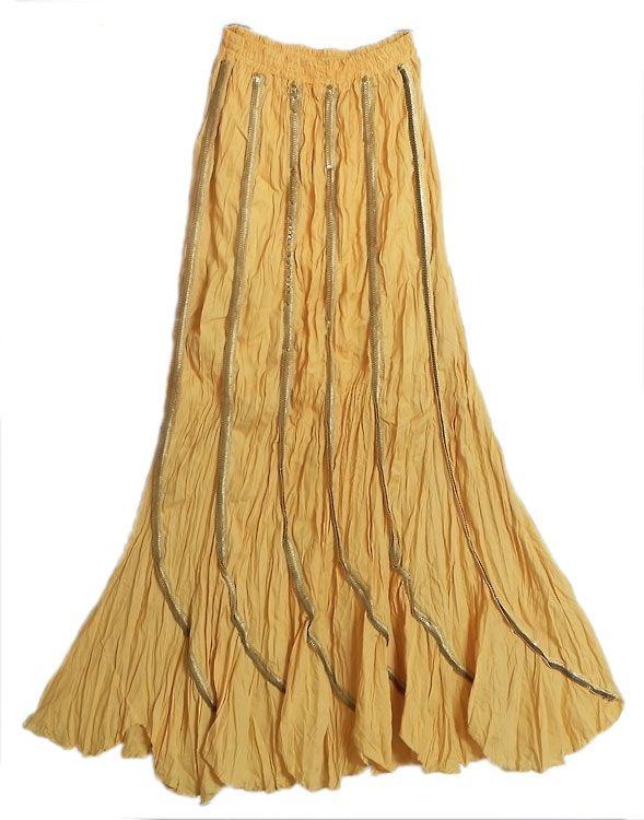 Uzo long skirts | Yellow Cotton Long Skirt
