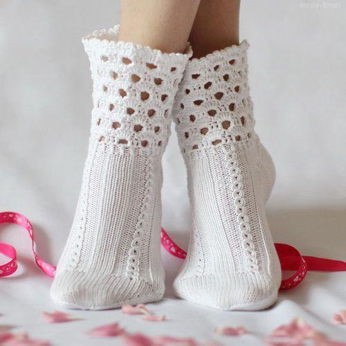 alesiavitman, носочки, пряжа, вязание: Носочки NiceHome - вязаные, белые, кружевные, хлопок