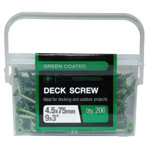 #B&Q Carbon Steel Deck Screw (Dia)4.5mm (L)75mm #BandQ Carbon Steel Deck Screw (Dia)4.5mm (L)75mm Pack of 200.This pack of Pozidriv #2 double countersunk head deck screws are constructed from a durable carbon steel 75mm in length and come partially threaded. Theyre ideal for a range of DIY applications. (Barcode EAN=5052931451982)