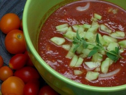 My new favorite gazpacho - made with local heirloom tomatoes.