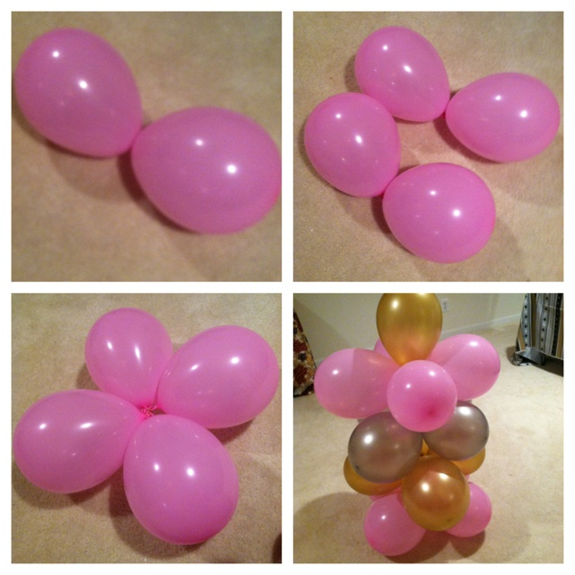 Quick, cheap and easy way to make a balloon tower. Rubber band two balloon ends together. Repeat. Twist the two double balloons together to make an x. Repeat and stack. Add a single balloon on top to finish the tower.