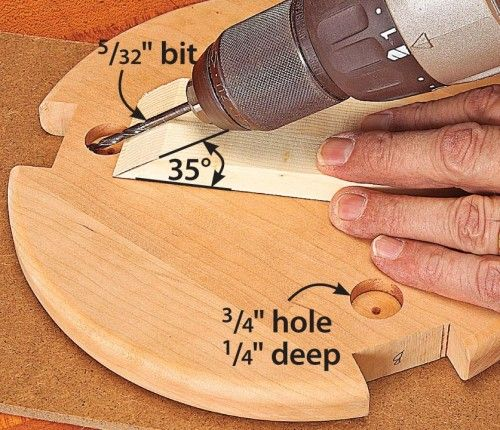 How to pocket-screw without a jig First, with a Forstner bit, drill 3⁄4″ holes 1⁄4″ deep in the bottom of the tabletop, where shown. Then, placing the tip of a 5⁄32″ bit in the corner of each hole, drill a shank hole at a 35° angle. To guide the bit, bandsaw a bevel on a piece of scrap, as shown. At assembly time, use the shank holes as guides to drill pilot holes into the legs. Then fasten the tabletop to the legs with ordinary flathead wood screws.—the WOOD® shop