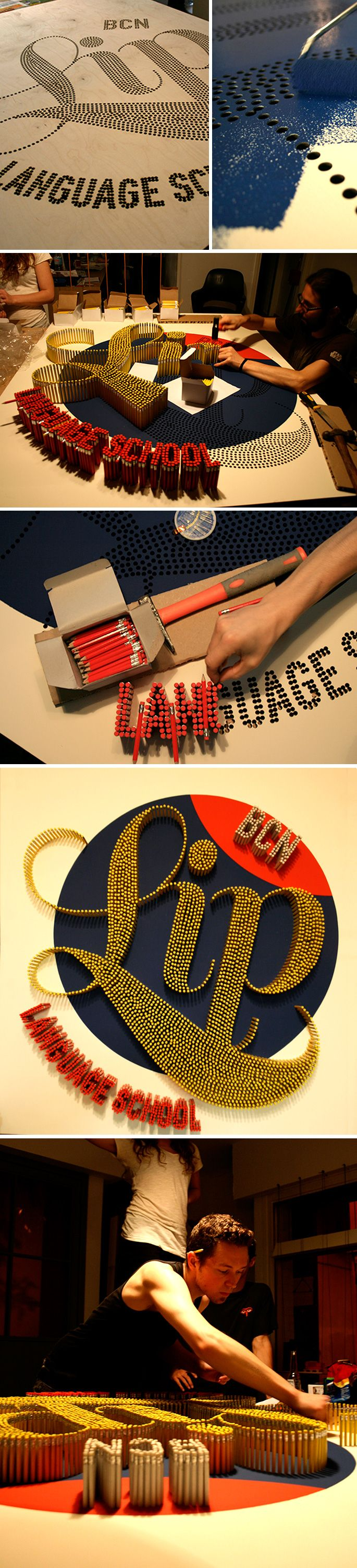 BCN Lip | Logo display made of pencils!