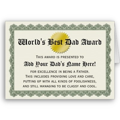 world s best dad award certificate card father s day gift ideas
