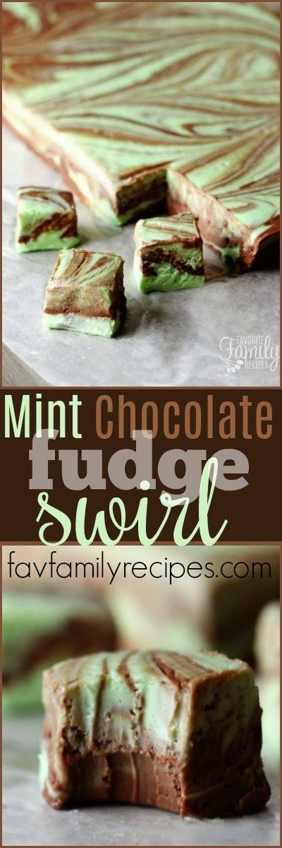 This mint chocolate fudge swirl is the perfect treat for the holidays. Each bite is a smooth, creamy, mint-chocolatey taste of heaven! #mintfudge #fudge #chocolatefudge #fudgeswirl  via @favfamilyrecipz