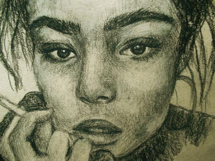 Portrait. Портрет. Портрет брюнетки. Brunette. Рисунок углем. Девушка. Темные глаза. by teslimovka on Etsy