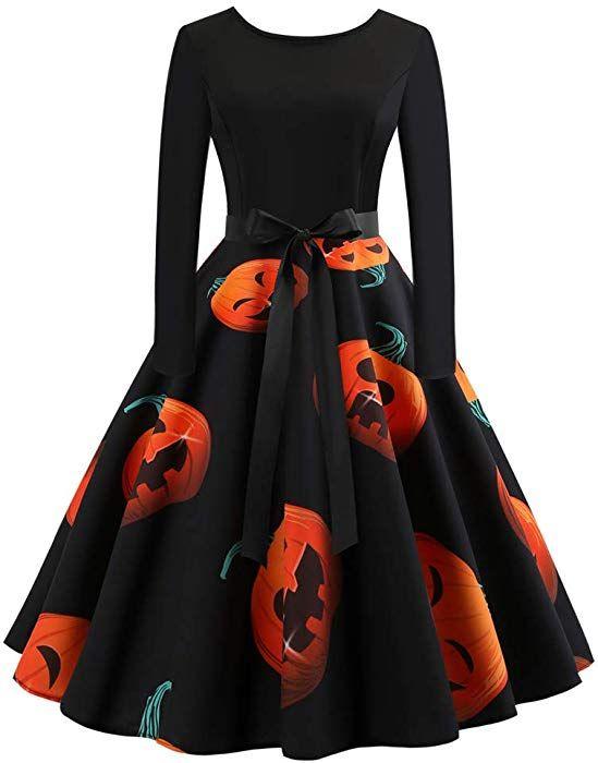 Femmes Robes Halloween Citrouille Imprimé Vintage Manches Longues A - Ligne  avec Ceinture Vêtements Deguisement Halloween Femme Robe de C…   Robe pagne  in ... 81ea47410d0