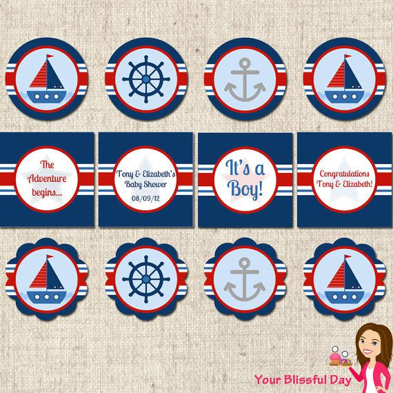PRINTABLE Personalized Nautical Baby Shower Party Circles