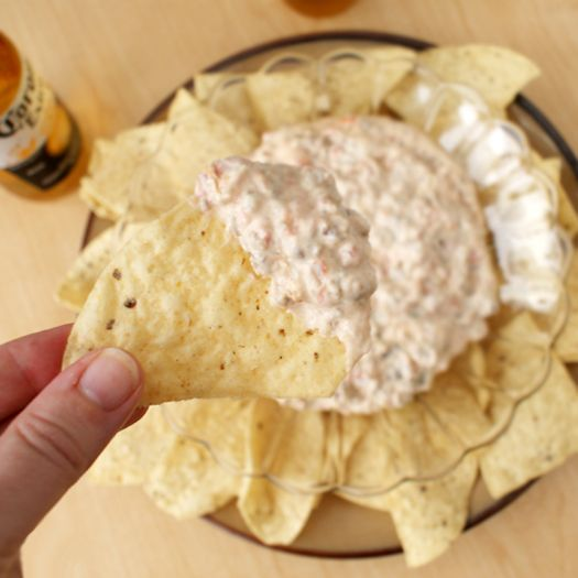 "This Sausage Cream Cheese Dip is a MUST for the Super Bowl!  ""Everywhere I bring it, people ask me for the recipe and are shocked to learn there's only three ingredients.""  #partyfood #gameday #appetizer"
