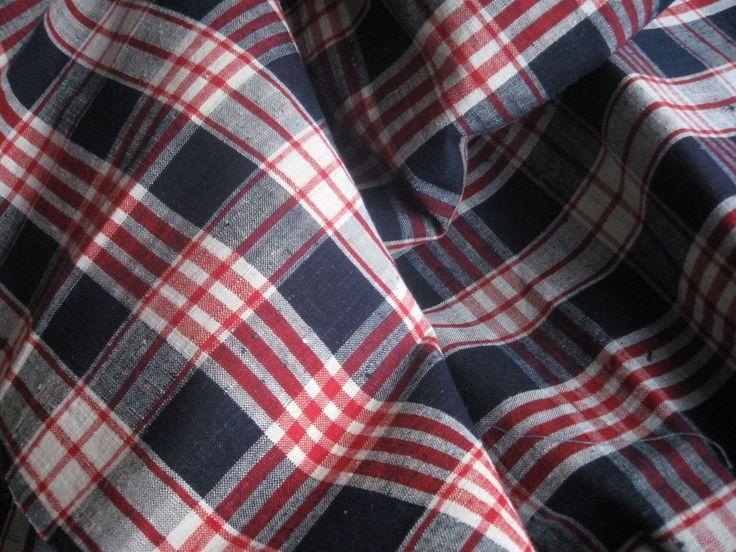 ANTIQUE FRENCH LINEN KELSCH - Blue & Red linen Kelsch Fabric