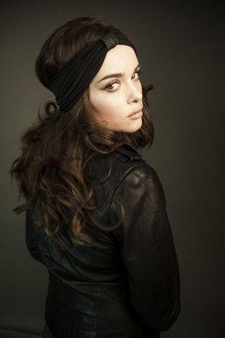Ladies: Black bamboo headband with perforated black leather loop