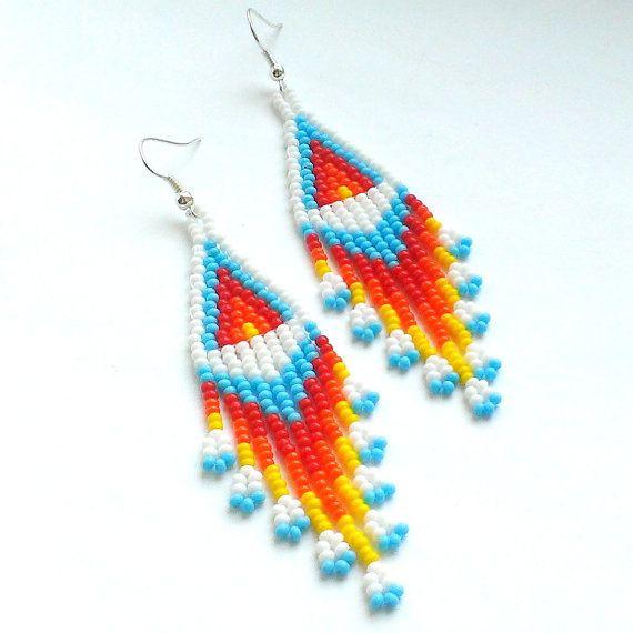 Dangle Seed Bead Earrings-Beaded Earrings American by Galiga