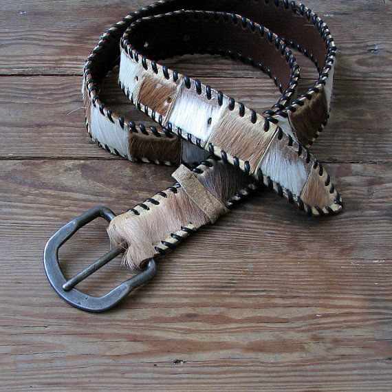 Vintage Rustic Leather Belt Unisex brown belt by DamovFashion
