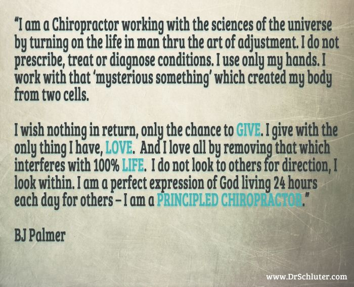 Sums it up pretty well. See the full quote here --> http://www.drschluter.com/principled-chiropractor-tulsa-chiropractor