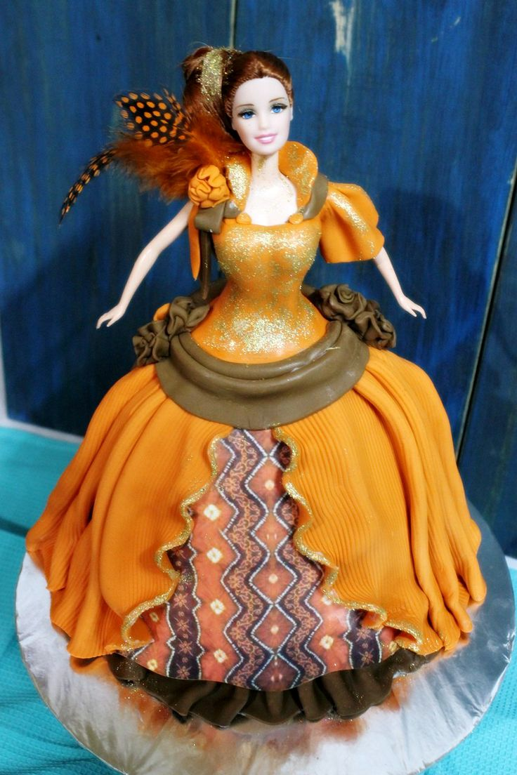 Batik Solo, Central of Java fabric, Indonesian style Barbie Doll cake class
