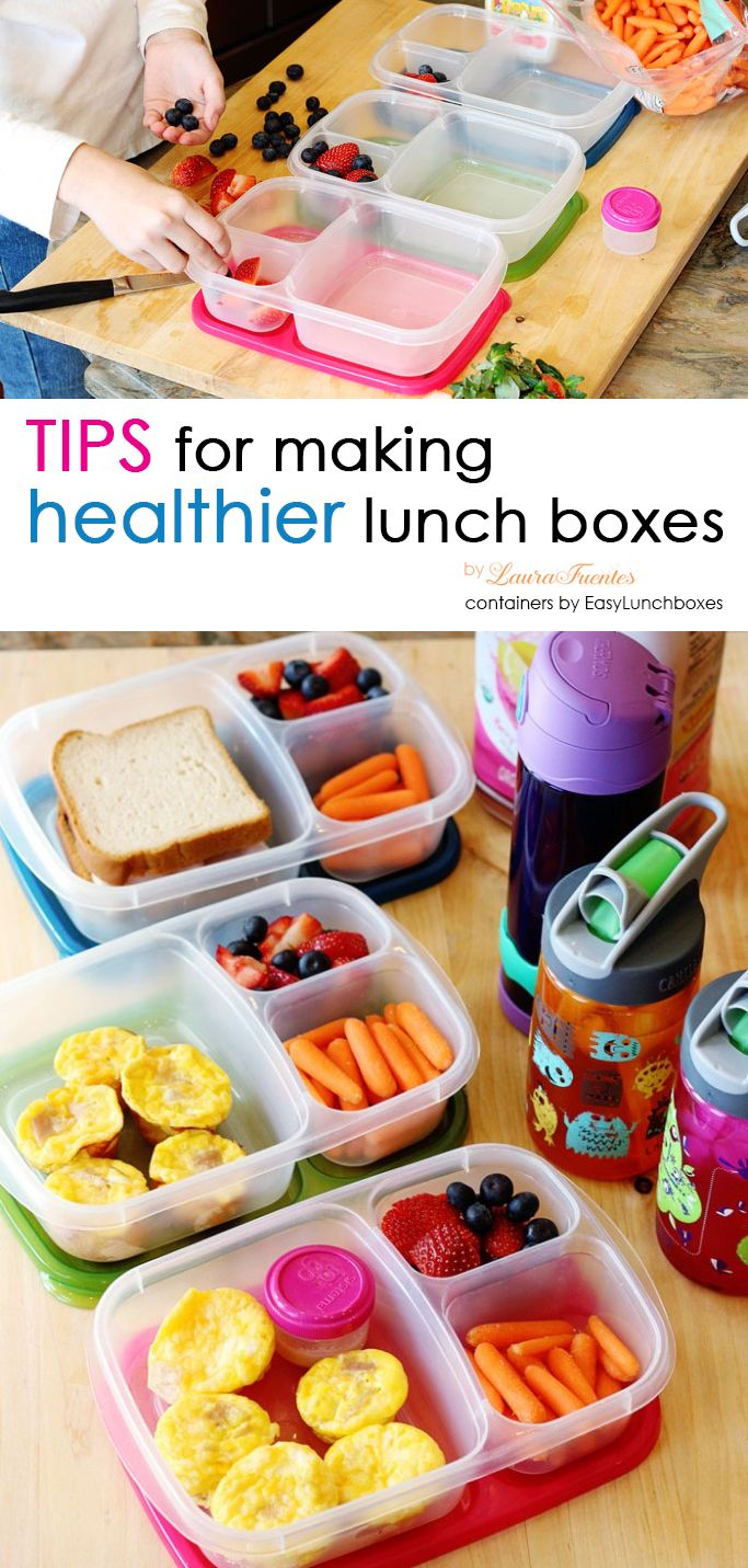 Tips for making healthier lunch boxes. Lunch containers are by @easylunchboxes