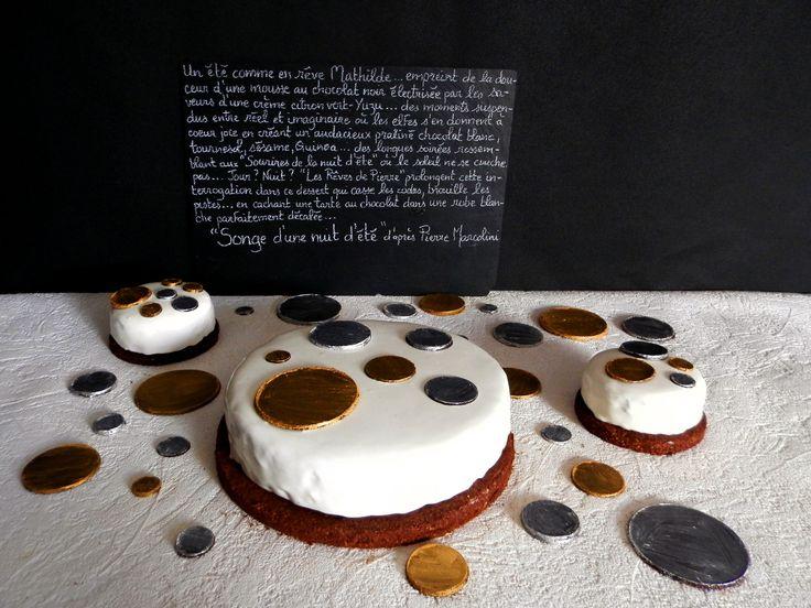 Songe d'une nuit d'été d'après Pierre Marcolini : mousse chocolat noir, crème citron vert-Yuzu, praliné chocolat blanc-sésame-quinoa-tournesol