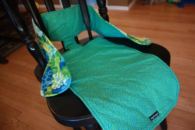 """This Mama's Fab Travel Chair.  This fabric """"high chair"""" is perfect for away from home dining."""