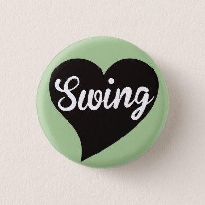 Swing Black Heart Mint Pinback Button - dance music dancing unique special diy