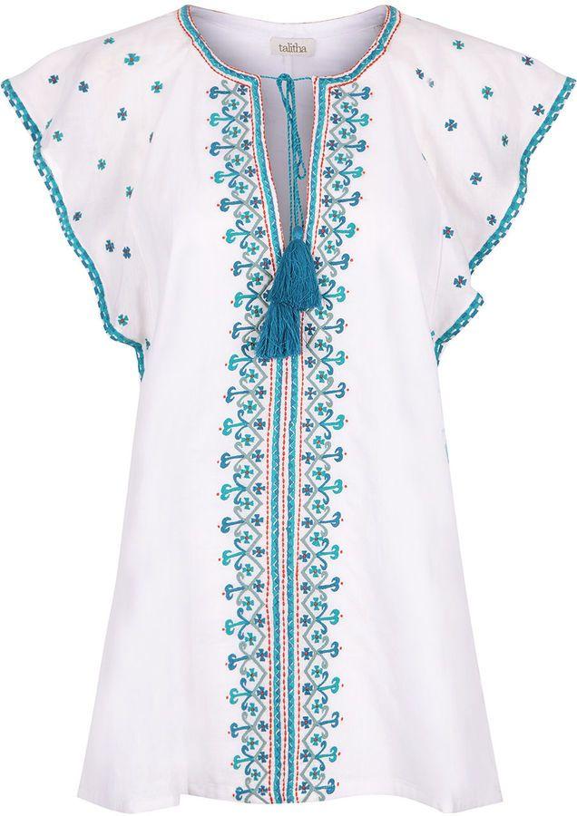 Talitha White Embroidered Anya Kaftan Top