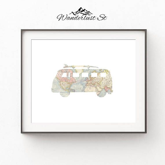 VW Bus Wall Art, Travel Nursery Decor, Surf Bus Print, DIGITAL DOWNLOAD, Surf Room Decor, Traveler Gift, Printable Wall Art, World Map Art