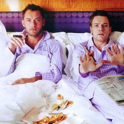 Jude Law & Ewan McGregor, sleeping in: Breakfast In Beds, Pajamas, Jude Law, Sunday Mornings, Judelaw, Ewanmcgregor, Celebrity Portraits, People, Ewan Mcgregor