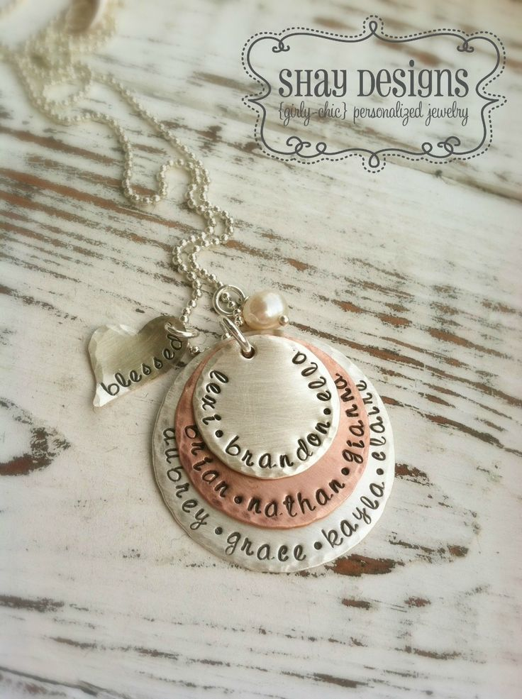 Mothers necklace with names of children and a sweet blessed heart and freshwater pearl
