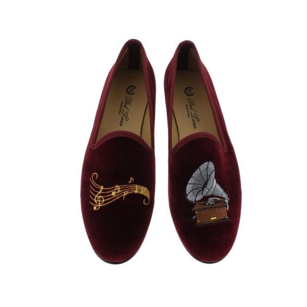 Del Toro Womens Gramophone Velvet Embroidered Smoking