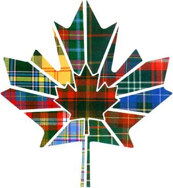 Regional tartans of Canada. Clockwise from bottom left (light blue and pink) are the tartans of Yukon, Northwest Territories, British Columbia, Alberta, Saskatchewan, Manitoba, Ontario, Quebec, New Brunswick, Nova Scotia, Prince Edward Island, and Newfoundland and Labrador. in the centre is Maple Leaf tartan, the official tartan of Canada.