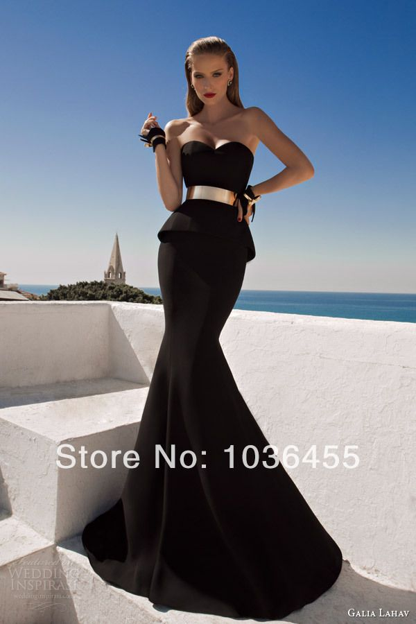 2014 Hot Sale Prom Dresses,Stunning Black Sweetheart Party Dress Cheap Mermaid Exquisite Evening  Dress